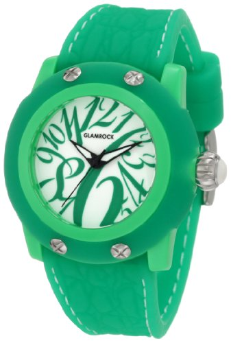 Glam Rock Women's GR24002 Miss Miami Beach White Dial Green Silicone Watch