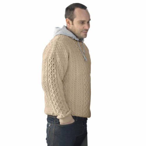 Traditional Merino Wool Irish Wicker Aran Sweater - Delivery from Ireland within 6-9 Days