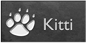 """Personalized Engraved Pet Memorial (4"""" x 2"""") - Cat Paw"""