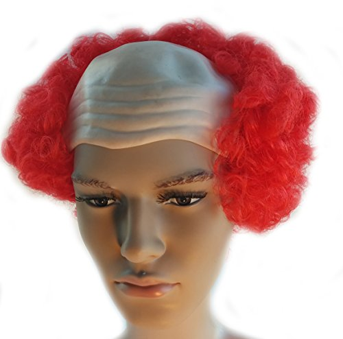Red Bald Curly Clown Wig Scary Pennywise It Clown Wig for Adults and Kids