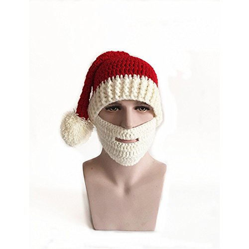 Jenny Shop Red Winter Santa Hat Snow Ski Caps With Visor Party Accessory Outdoor Recreation Unisex lovers Warm Knitted Crochet Baggy Beanie Hat Cap Including White Masks (Diamond Ski Cap compare prices)