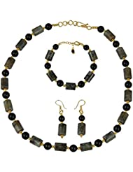 Pearlz Ocean Lovely Tube And Round Shaped Black Onyx And Labradorite Necklace Set For Women