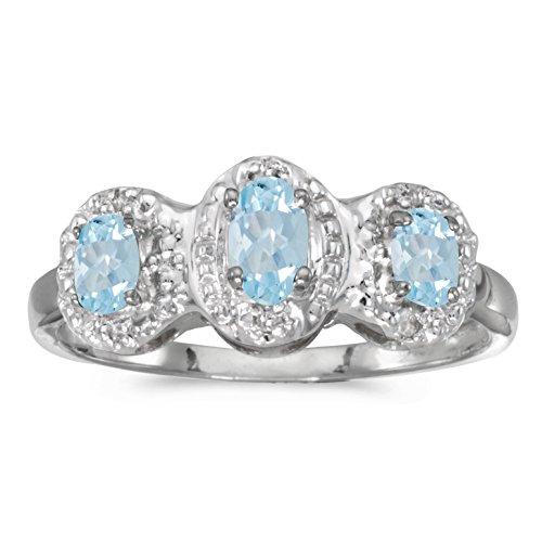 0.43 Carat Ctw 10K Gold Oval Aqua Aquamarine Diamond 3 Three Stone Halo Promise Engagement Fashion Ring - White-Gold, Size 13
