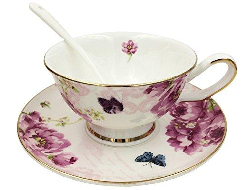 jsaron Vintage Flower Set Thé Tasse à café avec cuillère et soucoupe pour tasse à café, rose