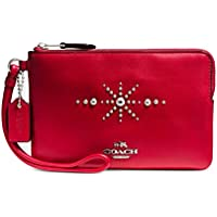 Coach Womens Box Program Western Rivets Small Wristlet (Sv/Red)