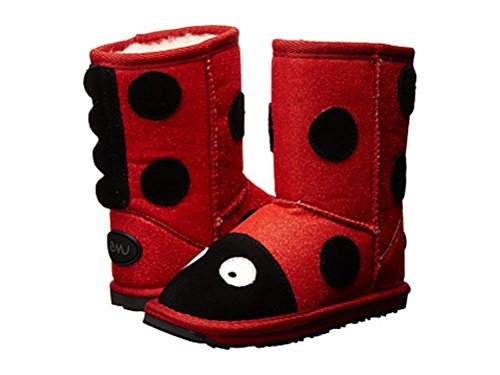 Kids Emu Little Creatures Lc Ladybug Boots Red Sparkle Size 8 front-500066