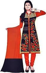 Pandadi Creation Women's Cotton Bleck and Orenge Collor Suit Piec Dress Material with Chiffon Dupatta