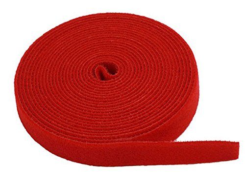 Monoprice Fastening Tape 0.75inch One Wrap Hook & Loop Fastening Tape 5 yard/Roll - Red