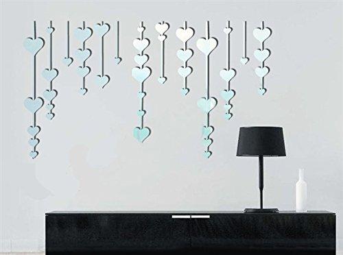 qwer Specchio da parete adesivo superficiale letto animazione per bambini sala tv camera da letto a parete divano specchi decorativi scacciapensieri P013, argento