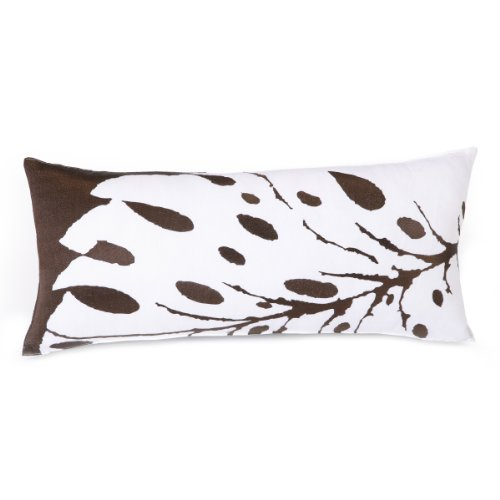 Trina Turk Peacock Punch Leaf Embroidered Decorative Pillow, 26 By 12-Inch, Brown front-1047655
