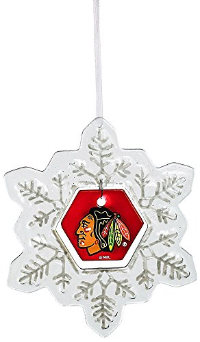 Glass Snowflake Ornament, Chicago Blackhawks