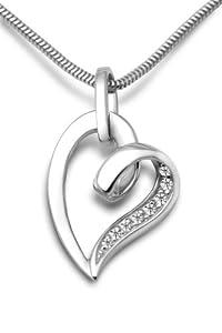 Miore Damen-Halskette Herz 925 Sterling Silber 8 Zirkonia farblos 45 cm MSM116N