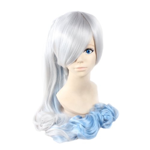 Angelaicos Women's Two Tone Curly Lolita Party Cosplay Costume Wigs Long Gray Blue