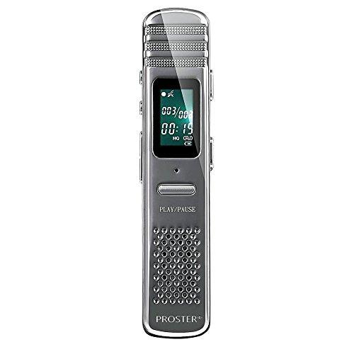 Proster 8GB Registratore Vocale Digitale, Registratore Audio Attivata Voce Multifunzionale Portatile Ricaricabile Dittafono MP3 Lettore per Interviste, Riunioni, Classe, ecc