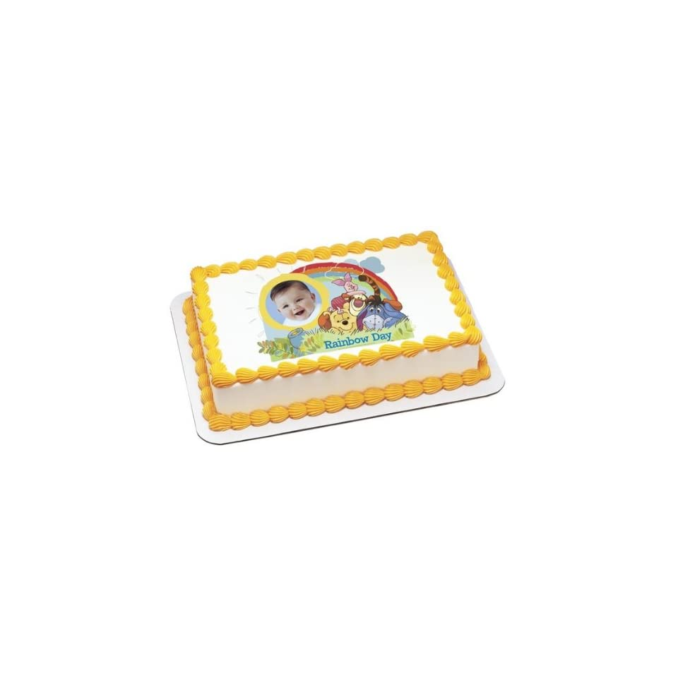 Winnie the Pooh Rainbow Day Personalized Frame Edible Cake Topper Toys & Games