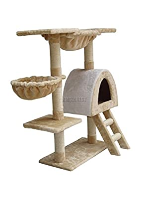 FoxHunter Deluxe Multi Level Cat Scratcher Cat Tree Activity Centre Scratching Post Climbing Sisal Toys CAT001 Beige and White Faux Fur 60cm x 30cm x 100cm Height