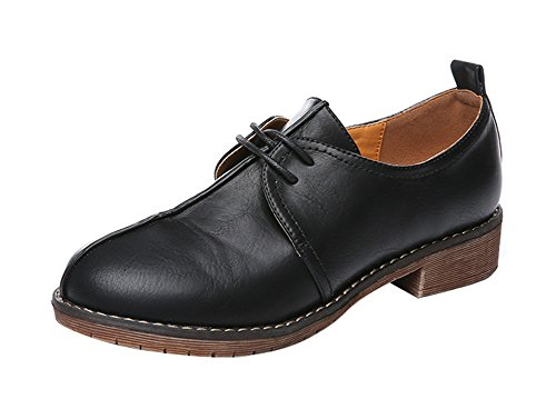 Freerun Women's Round Toe 2-Eyelets Lace-up Low Heel Oxfords Shoes (5.5 B(M)US,black)