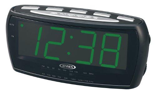 Jensen JCR208 AM/FM Alarm Clock Radio with 1.8-Inch Green LED Display