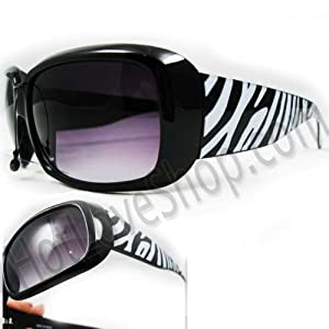HOTLOVE Premium Sunglasses UV400 Lens Technology   Unisex P1436  Animal Zebra Print Fashion Design Black Frame Glassy Finish  w Dark  Gradient  Perfectly Match Everyday Apparel for Women & Men
