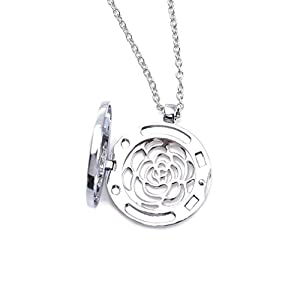 ZX Jewelry Flower of Life Stainless Steel Aromatherapy Essential Oil Diffuser Necklace Pendant Locket from ZX Fashion