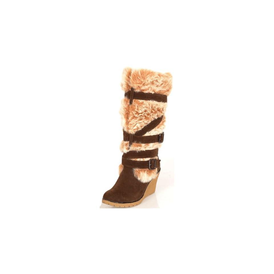 FASHION FUR Trim Buckle BROWN Knee High SNOW BOOTS 6.5 Shoes