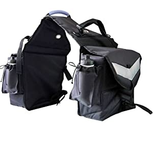 Intrepid International Insulated Saddle Bag with Water Bottles, Black