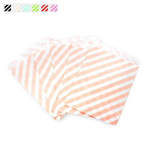 Craft Clouds - Diagonal Candy Stripe Candy Treat Craft Bag - 25 Pack (Peach)