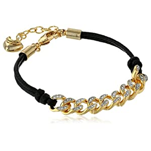 Juicy Couture Black Chain Link Friendship Bracelet 6.25