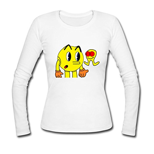 LARger pac-man Custom Gildan Long Sleeve Shirts Ladies White M