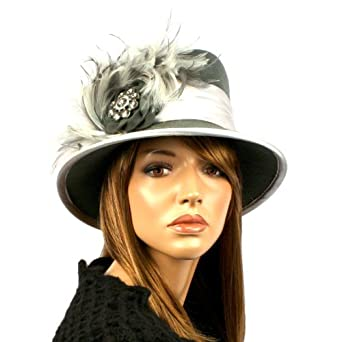 Millinery 100% Wool Derby Winter Cloche Feathers Jewels Bucket Church Hat Gray
