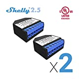 Shelly 2.5 Double Relay Switch and Roller Shutter WiFi Open Source Wireless Home Automation Dual Power Metering iOS Android Application (2 Pack) +UL Certificate