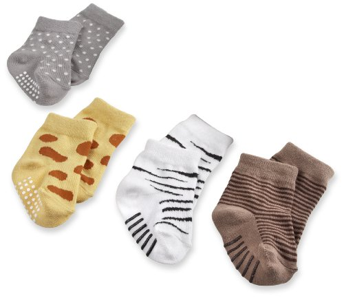 babyaspen 4-Pair Animal Themed Sock Set, 0-6 months, Sock Safari