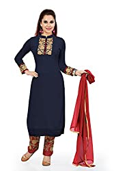 Navy Blue Georgette Embroidered Unstitched Dress Material