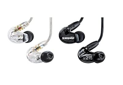 Shure SE215 Sound Isolating Earphones with Dynamic MicroDriver (Clear/Black)
