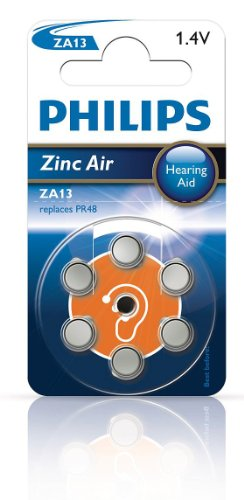 Philips ZA13B6A Extreme Life Pile pour aide auditive Zinc-Air