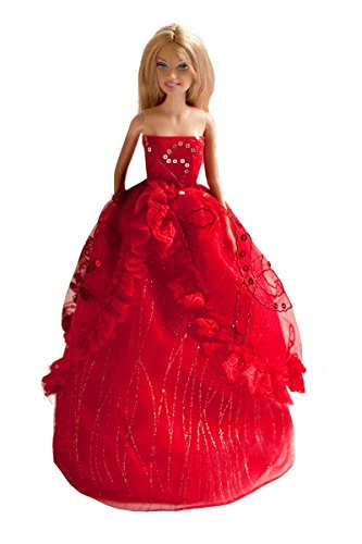 Barbie Sequin Embroidered Wedding Gown, Bride Barbie Red Sequin Gown - Dolls NOT Included - 1