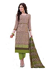 Aradhya Women's Light Coffee Cotton Dress Material