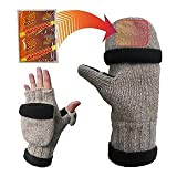 Heat Factory Fleece-Lined Ragg Wool Gloves with Fold Back Pocket for Heat Factory Hand Warmer, Womens