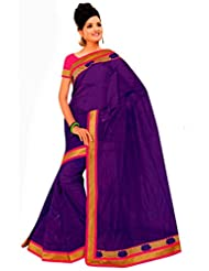 A G Lifestyle Purple Super Net Saree With Unstitched Blouse BLS303