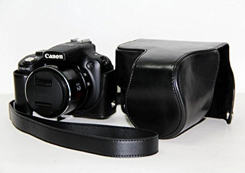 Black PU Leather DSLR Camera Shoulder Strap Bag Cover for Canon SX40 SX50