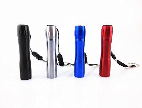 Yueton Aluminum Baseball Bat Shape Push Button Handheld LED Flashlights with Key Ring Strap, Pack of 4