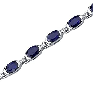 Exceptionally Stunning: Oval Shape Blue Sapphire Gemstone Bracelet in Sterling Silver Rhodium Nickel Finish by peora