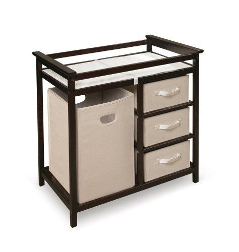 Badger Basket Modern Changing Table with 3 Baskets and Hamper, Espresso