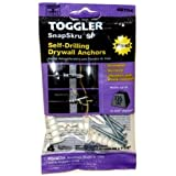 TOGGLER SnapSkru SP Self-Drilling Drywall Anchor with Screws, Glass-Filled Nylon, Made in US, For #6 to #10 Fastener Sizes (Pack of 4)