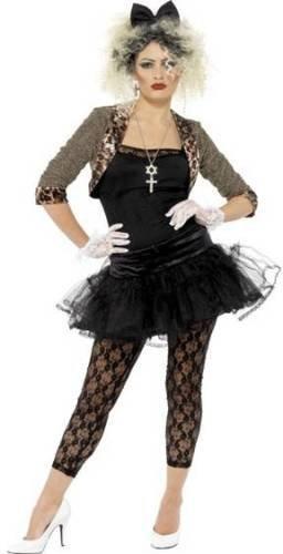 Donna Anni 80anni 80Wild Child Madonna Punk Pop Icona Celebrità Costume Black 38-39