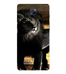 PrintVisa Black Lion Animal Design 3D Hard Polycarbonate Designer Back Case Cover for One Plus 3