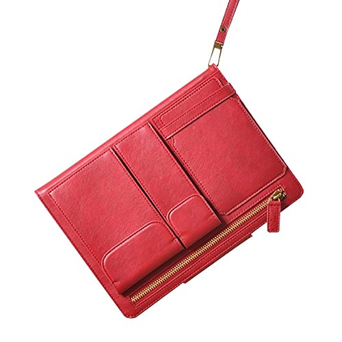 Moon Monkey Retro Elastic Hand Strap Stand Function Case Multi-Functional Ipad Bag For Ipad Air/5 (Mm428Air) (Red)