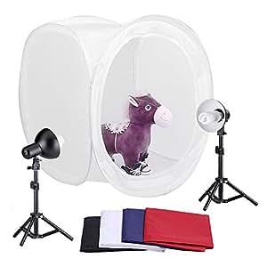 "Neewer® 30""/76cm Photography Shooting Tent Kit, Including (2) 30 Watt 5000K Light Bulbs,(2) Studio Lights (1) 30""/76cm Studio Light Tent with (4) Backgrounds - Black/White/Dark Blue/Red"