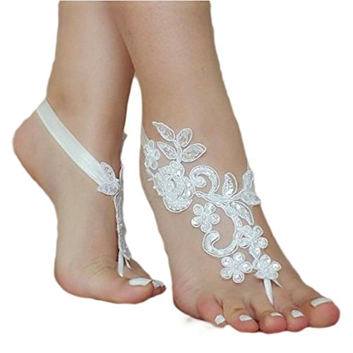 ASA Bridal Summer Crochet Barefoot Sandal Lace Anklets Wedding Prom Party Bangle-Ivory