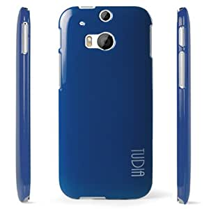 TUDIA [SOFT TOUCH] HTC One Plus (M8) Case [Silky Series] Ultra Slim Premium Rubberized Glossy Hard Cover for HTC One Plus (M8) (Blue)